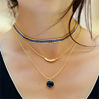 chocker with miyuki peyote and blue pearl cabochon