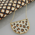 Animal necklace Leopard pattern Miyuki bead weaving