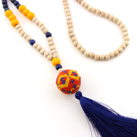 3D ball necklace with Miyuki pearls and tassel