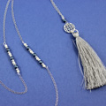 Long Necklace with Sterling Silver Rosace spacer and Fire-polished beads