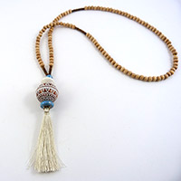 ethnic necklace with wooden beads and tassel