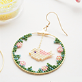 Bird creole earrings with Miyuki