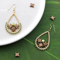 Miyuki Delicas and Star Beads woven earrings
