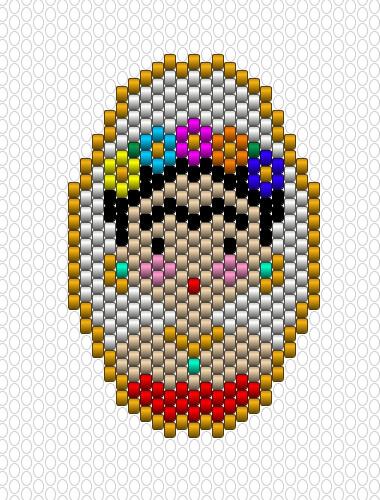Weaving Brickstitch Motif Medallion Frida Kahlo Beads Miyuki Delicas 11  0