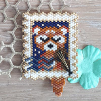 Weaving brick stitch pattern stamp Panda in glass bead Miyuki Delicas