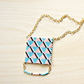 Brick Stitch turquoise and light pink weaving long necklace with geometric pattern and Miyuki Delicas pearls