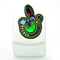 Ring in soutache with Swarovski cabochon and hematite