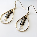 Earrings with Gold Filled elements, drop interlay and spike chain