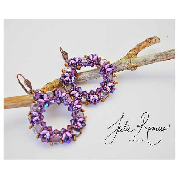 Purple Earrings With Superduo Miniduo Honeycomb Beads By Julie