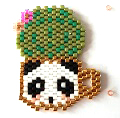 Weaving brick stitch cup panda and cactus