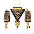 Imitation wood and aztec leather imitation leather trim set with silk-screen print