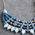 Ethnic necklace with geometric wood beads