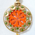 Cheyenne interlaced openwork pendant in plexiglass with glass beads by Puca