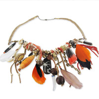 Etnic Chic natural necklace with shells and leathers