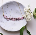 Necklace weaving brick stitch cherry blossoms