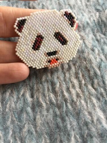 Brick Stitch Woven Panda Brooch Perles Co