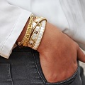 White and gold wrap bracelet with Tila beads, Miyuki Rock and Swarovski pearls