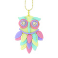Owl pendant in pastel polymer clay and Swarovski Cabochon