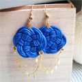 Blue Navy Knot earrings with Swarovski cabochons