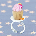 Cupcake ring in Fimo and 925 Silver