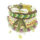 Heishi multi row bracelet with shell bead