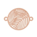 925 Sterling Silver spacer 2 loops palm leaf 21 mm - rose gold plated
