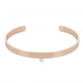 Brass cuff bracelet with 1 loop to customize 5,1x160 mm Rose Gold Tone