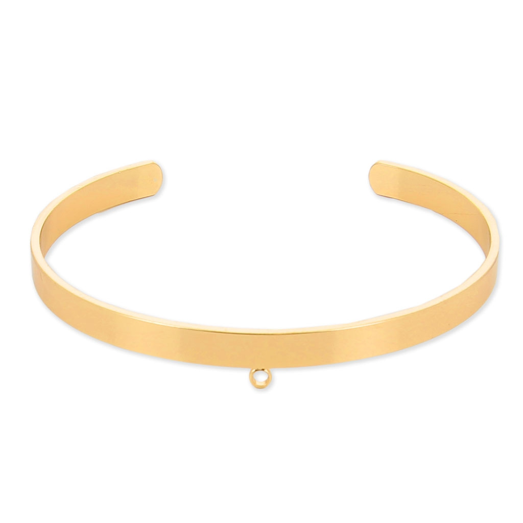 brass cuff bracelet with 1 loop to customize 5 1x160 mm gold tone