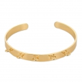 Brass cuff bracelet with 5 loopss to customize 6,2x160 mm Gold Tone