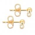 Ball Earstuds with a loop 3 mm Gold Tone x2