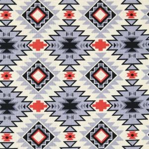 Fabric David Textiles Tribal Stripe Grey Turquoise
