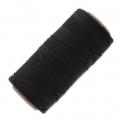 Linhasita wax thread bobbin for micro macrame 0.75 mm Black x250m