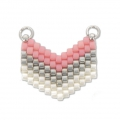 Woven Miyuki spacer 2 loops 18x17 mm Light Pink/Silver/White