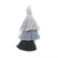 Large triple tassel 7 cm for jewelry DIY creations Multi Grey x1