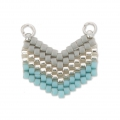 Woven Miyuki spacer 2 loops 18x17 mm Grey/Silver/Turquoise