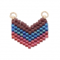 Woven Miyuki spacer 2 loops 18x17 mm Bordeaux/Blue/Red