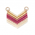 Woven Miyuki spacer 2 loops 18x17 mm Gold/Red/Cream