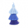 Large triple tassel 7 cm for jewelry DIY creations Multi Blue x1