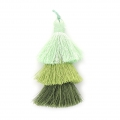 Large triple tassel 7 cm for jewelry DIY creations Multi Green x1