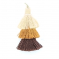 Large triple tassel 7 cm for jewelry DIY creations Multi Brown