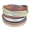 Fancy ribbon imitation leather 10 mm Light Coffee Glitter x1.2m