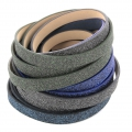 Fancy ribbon imitation leather 10 mm Blue/Black Glitter x1.2m