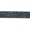 Fancy ribbon imitation leather 5 mm Blue/Black Glitter x1.2m