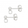 925 Sterling Silver 3 mm ball earstuds x2