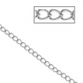 Stainless steel flat ovale plate links chain 3.8x4.9 mm x98 cm