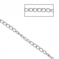 Stainless steel flat ovale plate links chain 2.5x3.6 mm x1 m