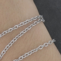 Stainless steel flat ovale martélée links chain 3x4 mm x1m