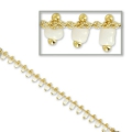 Chain with seed beads 1.7 mm white/gold tone x 50cm