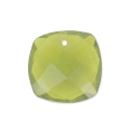 Square Faceted Pendant 10 mm Hydro Olivine Tourmaline x1