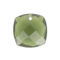 Square Faceted Pendant 10 mm Hydro Green Tourmaline x1